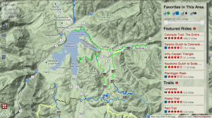Screen Shot of MTBproject's summit county trails